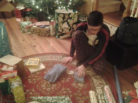 Staying up until 1 AM to help me finish the Christmas wrapping.